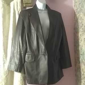 Lord & Taylor brown leather blazer. Size 12